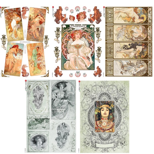 Premium Rice Paper - Art Nouveau Women - 5 designs of A4