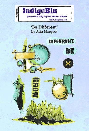 Be Different A6 Red Rubber Stamp by Asia Marquet