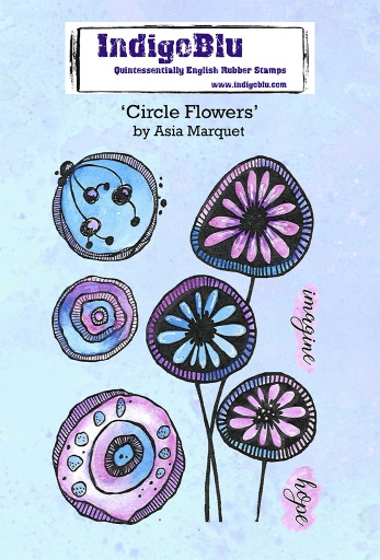 Circle Flowers A6 Red Rubber Stamp by Asia Marquet