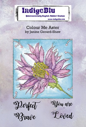 Colour Me Aster A6 Red Rubber Stamp