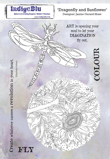 Dragonfly and Sunflower A5 Red Rubber Stamp by Janine Gerard Shaw