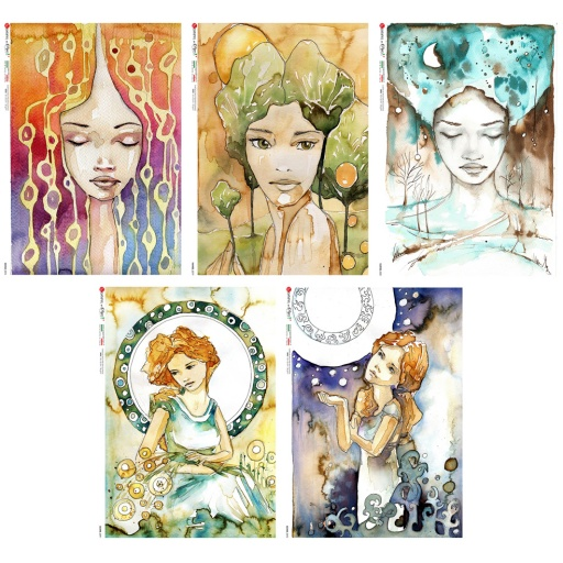 Premium Rice Paper - Faeries - 5 designs of A4