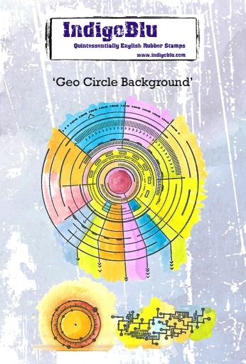 Geo Circle Background A6 Red Rubber Stamp