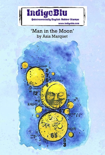 Man in the Moon A6 Red Rubber Stamp by Asia Marquet