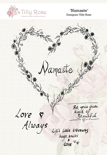 Namaste A5 Red Rubber Stamp by Tilly Rose