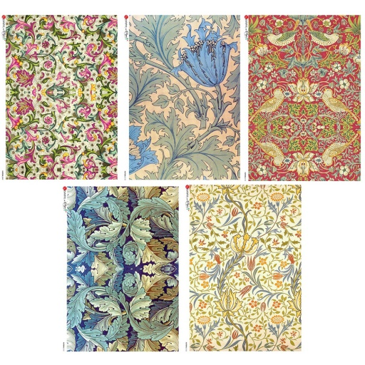 Premium Rice Paper - William Morris - 5 designs of A4