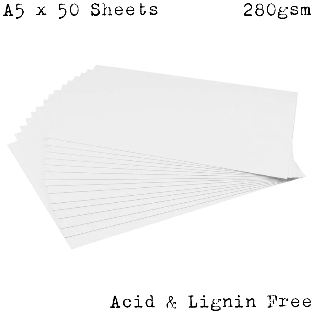 A5 White Water Colour Card - 50 Sheets (280gsm)