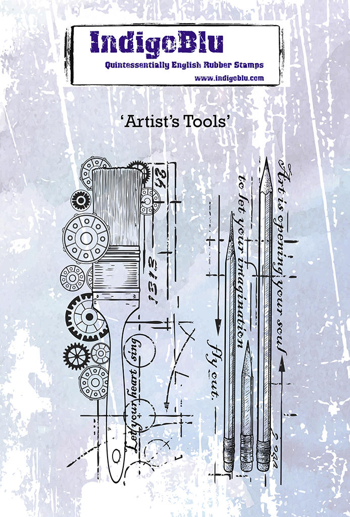 Artists Tools A6 Red Rubber Stamp by Kay Halliwell-Sutton