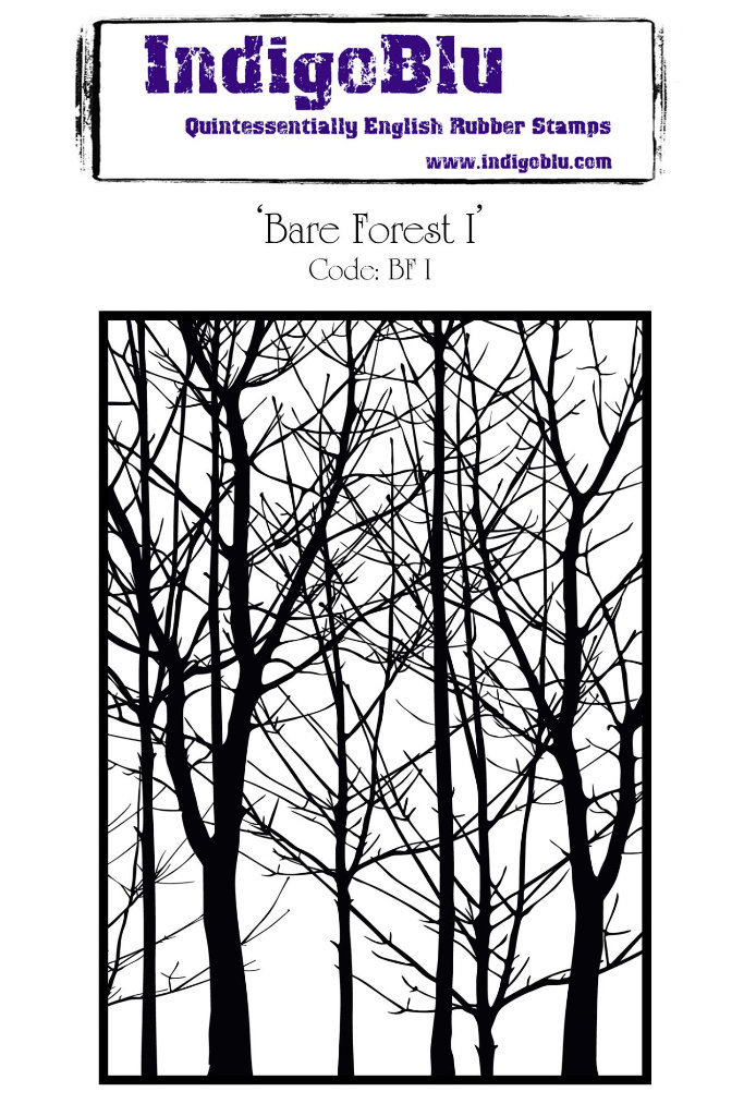Bare Forest A6 Red Rubber Stamp