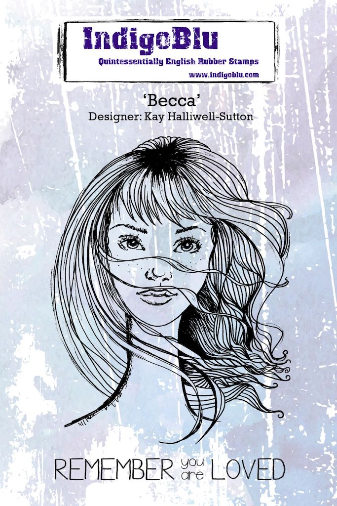 Becca A6 Red Rubber Stamp by Kay Halliwell-Sutton