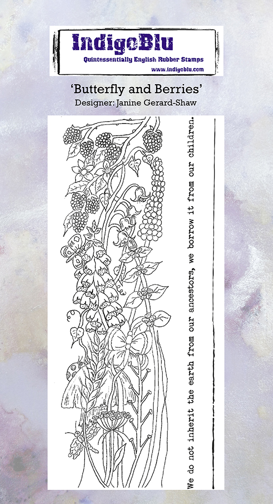 Butterfly and Berries DL Red Rubber Stamp by Janine Gerard Shaw