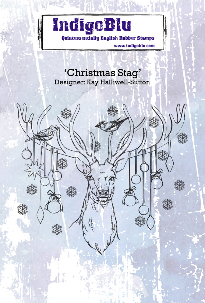 Christmas Stag A6 Red Rubber Stamp by Kay Halliwell-Sutton