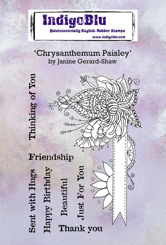 Chrysanthemum Paisley A6 Red Rubber Stamp by Janine Gerard-Shaw