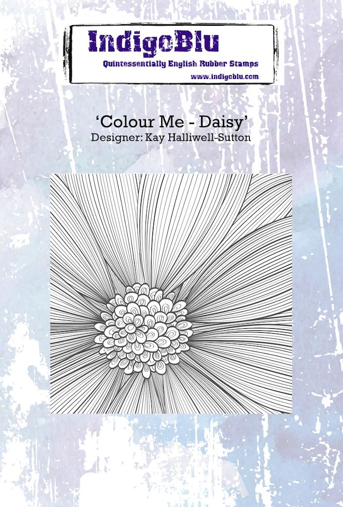 Colour Me - Daisy A6 Red Rubber Stamp by Kay Halliwell-Sutton