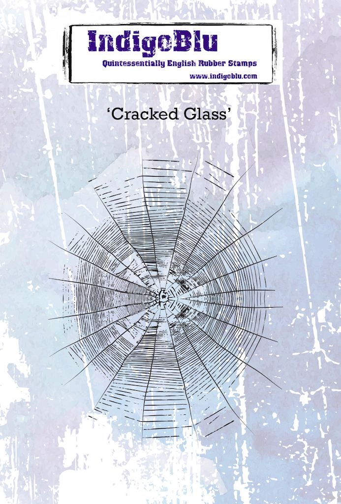 Cracked Glass A6 Red Rubber Stamp