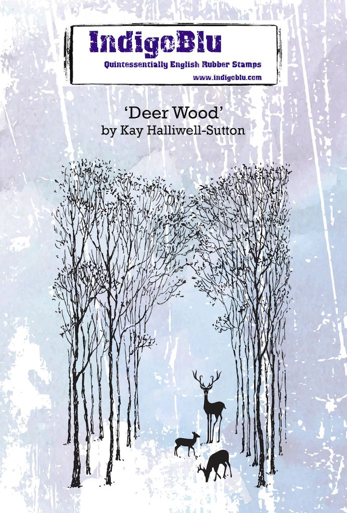 Deer Wood A6 Red Rubber Stamp by Kay Halliwell-Sutton