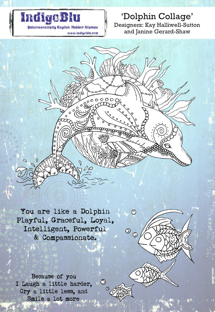 Dolphin Collage A5 Red Rubber Stamp by Kay Halliwell-Sutton and Janine Gerard-Shaw
