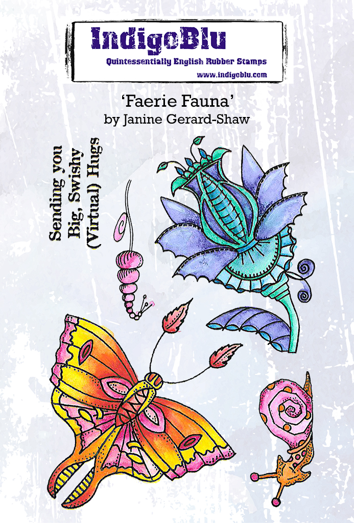Faerie Fauna A6 Red Rubber Stamp by Janine Gerard-Shaw