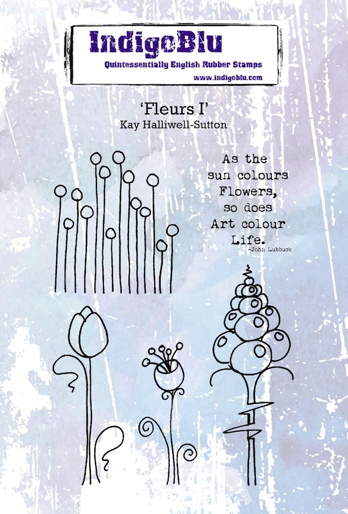Fleurs I A6 Red Rubber Stamp by Kay Halliwell-Sutton