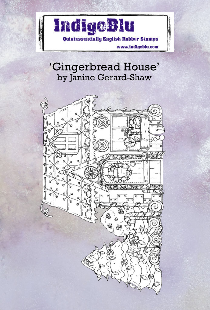 Gingerbread House A6 Red Rubber Stamp by Janine Gerard-Shaw