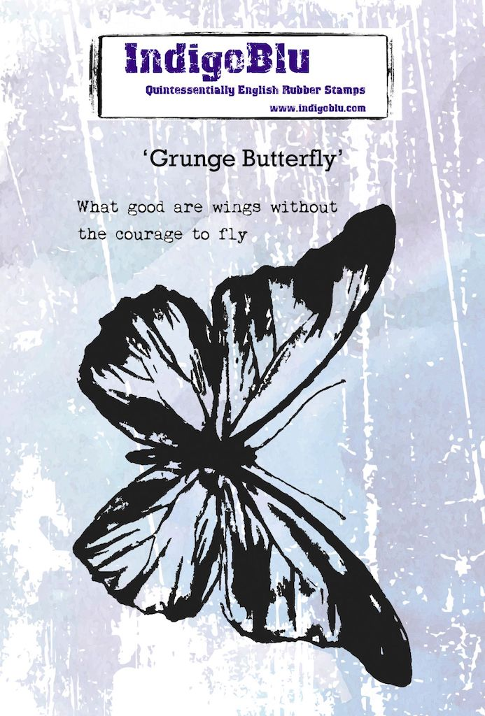 Grunge Butterfly A6 Red Rubber Stamp