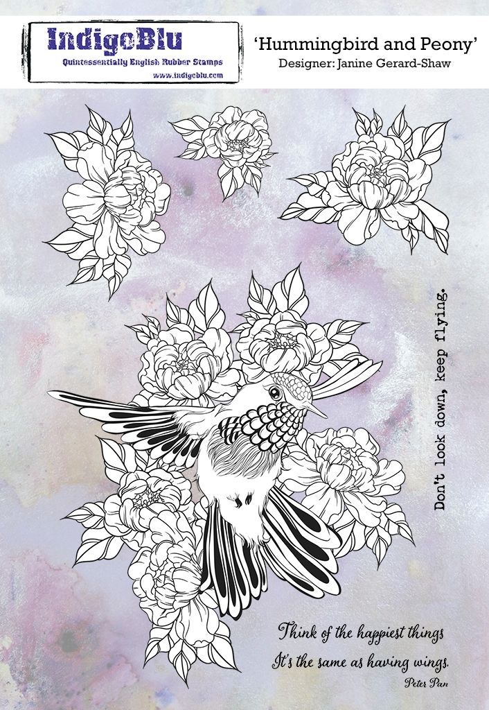 Hummingbird and Peony A5 Red Rubber Stamp