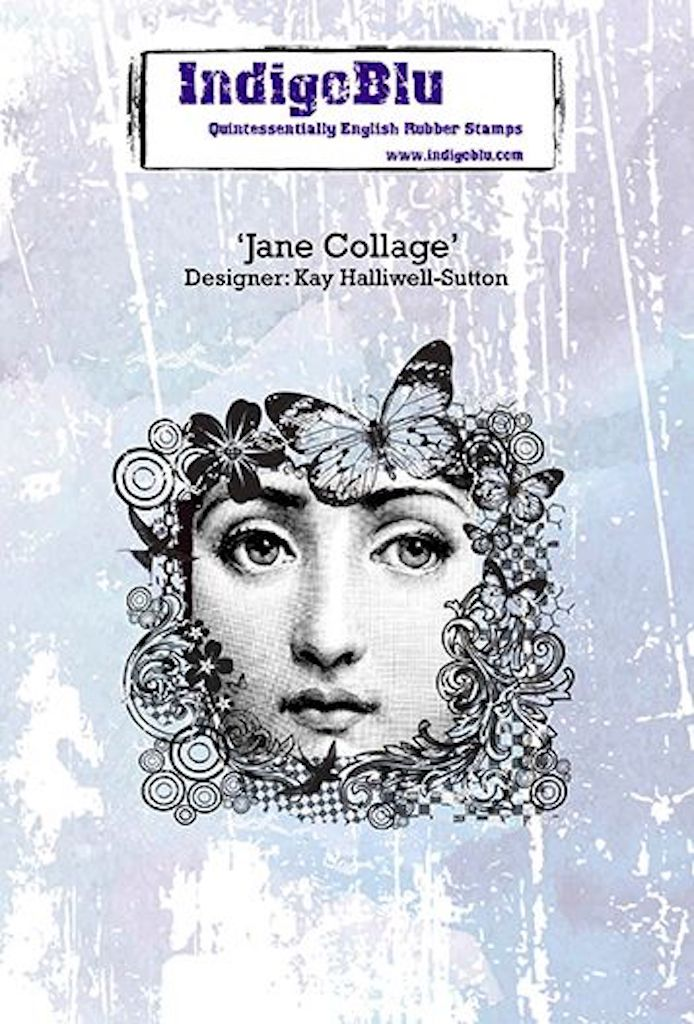 Jane Collage A6 Red Rubber Stamp by Kay Halliwell-Sutton