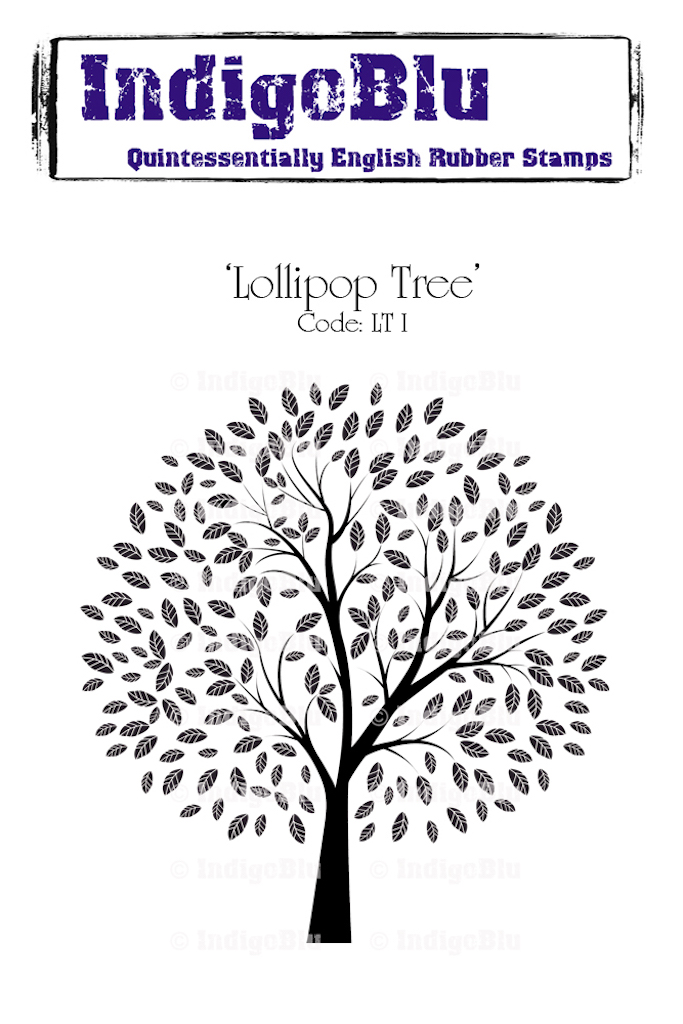 Lollipop Tree A6 Red Rubber Stamp