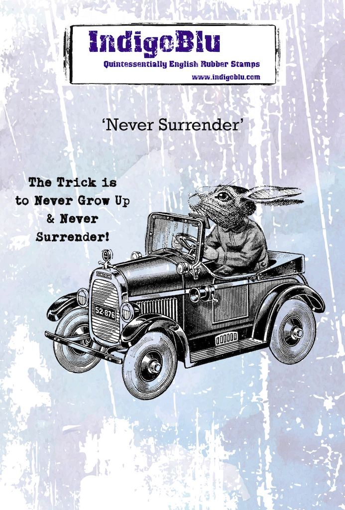 Never Surrender A6 Red Rubber Stamp