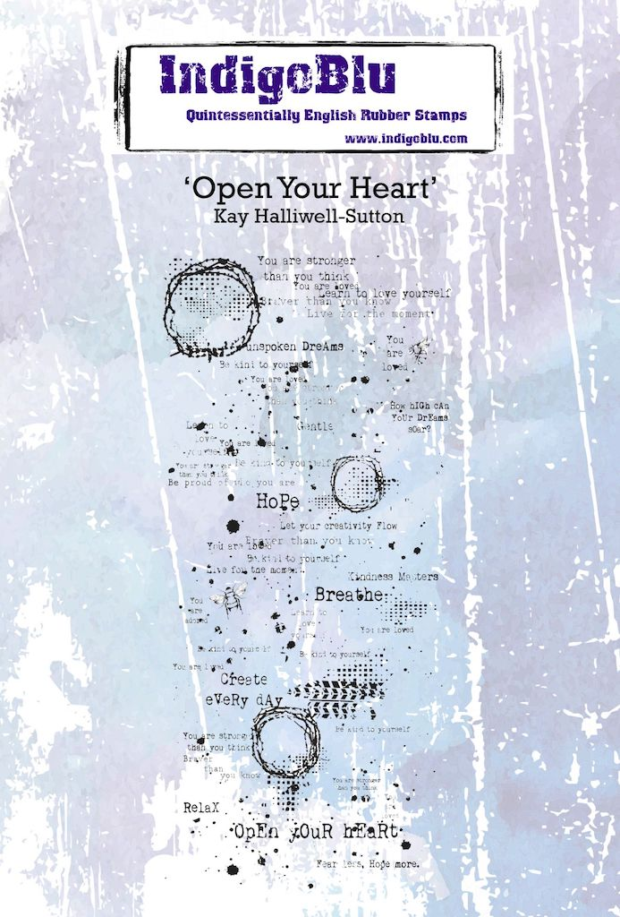 Open your Heart A6 Red Rubber Stamp by Kay Halliwell-Sutton