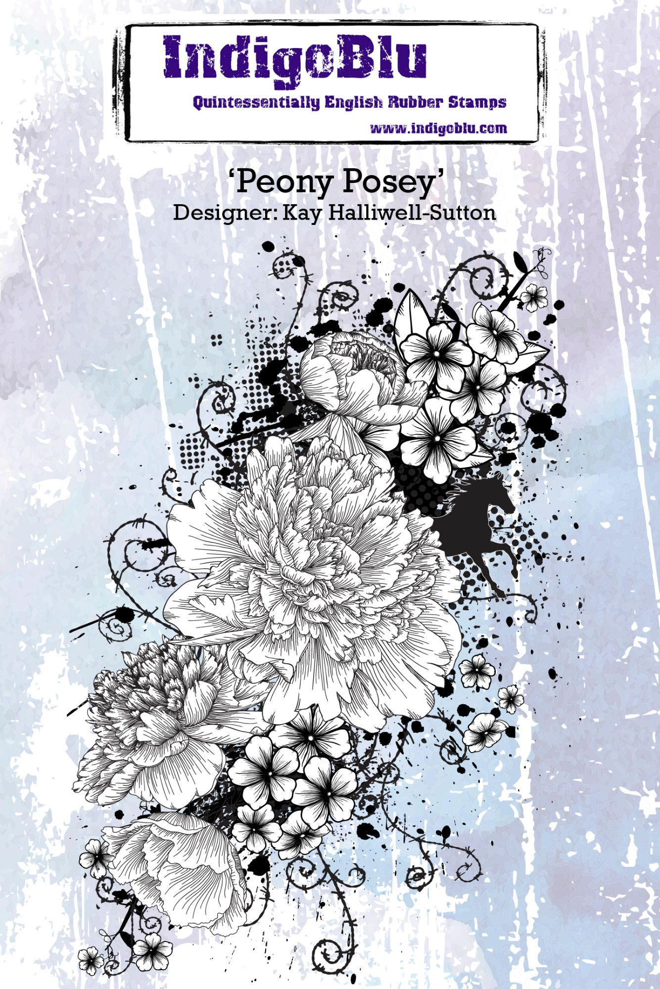Peony Posey - A6 Red Rubber Stamp by Kay Halliwell-Sutton