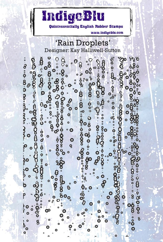 Rain Droplets A6 Red Rubber Stamp by Kay Halliwell-Sutton