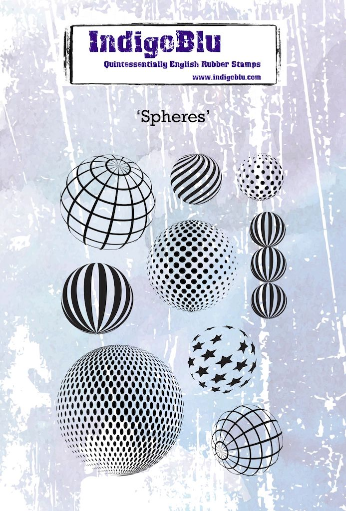 Spheres A6 Red Rubber Stamp by Kay Halliwell-Sutton