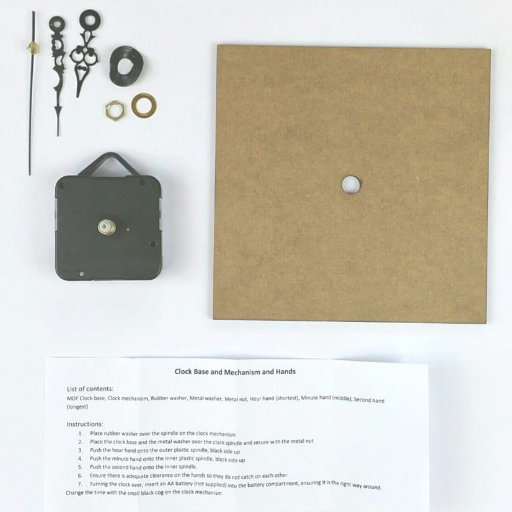 Square Small Clock Kit (145mm diameter) with mechanism and hands