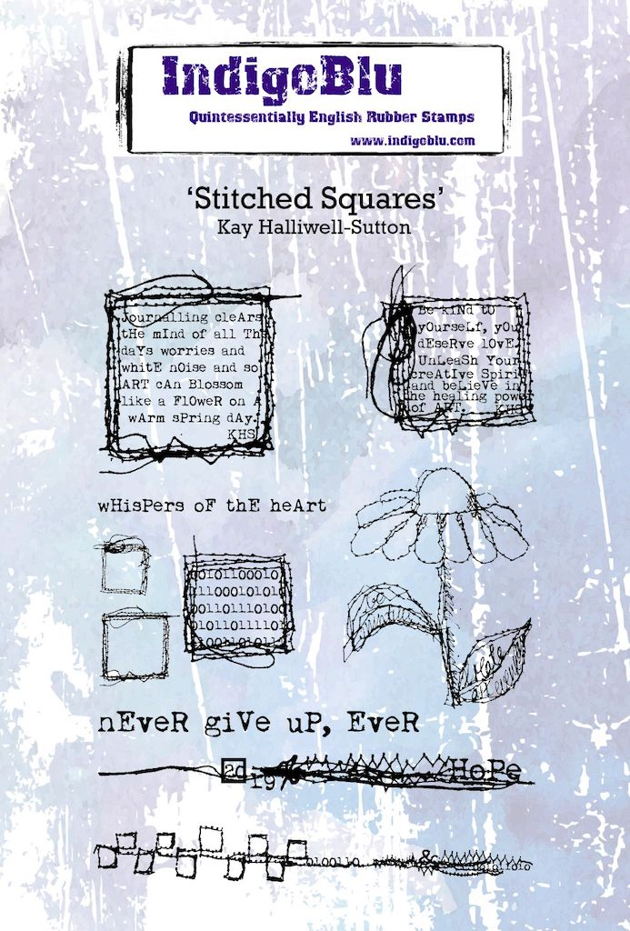 Stitched Squares A6 Red Rubber Stamp by Kay Halliwell-Sutton