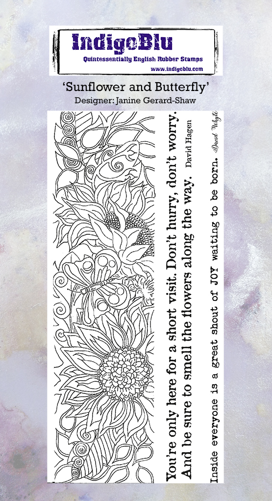 Sunflower and Butterfly DL Red Rubber Stamp by Janine Gerard Shaw