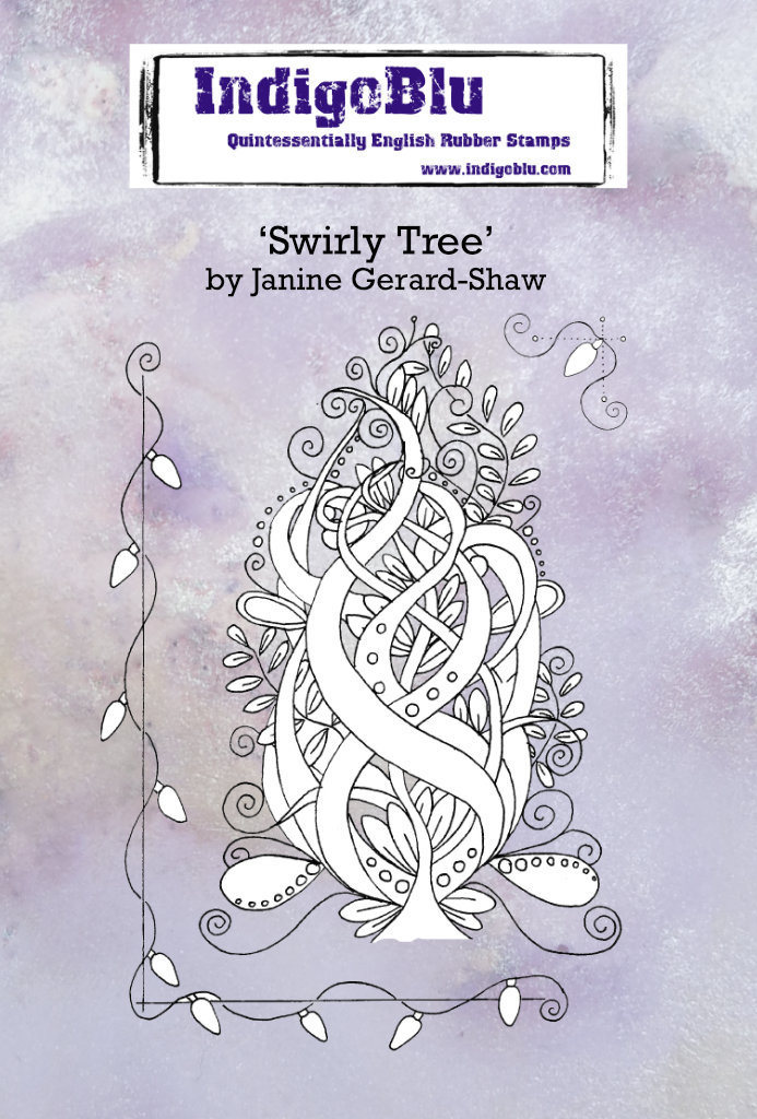Swirly Tree A6 Red Rubber Stamp by Janine Gerard-Shaw