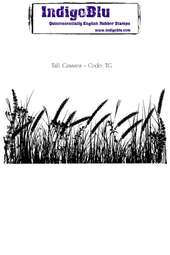 Tall Grasses A6 Red Rubber Stamp