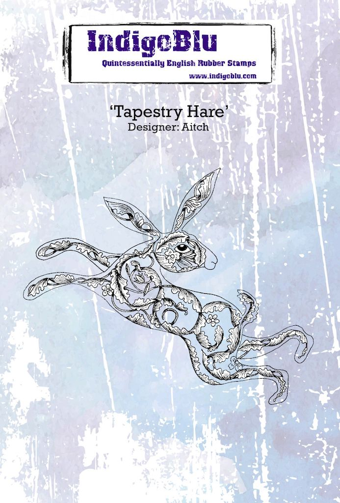 Tapestry Hare A6 Red Rubber Stamp