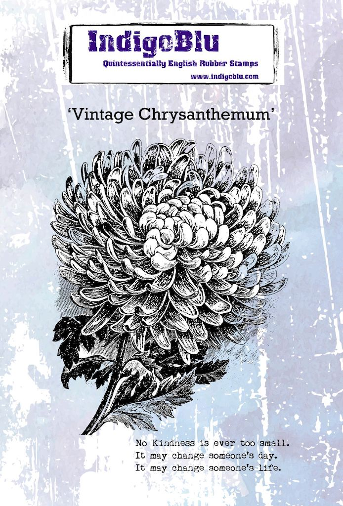 Vintage Chrysanthemum A6 Red Rubber Stamp