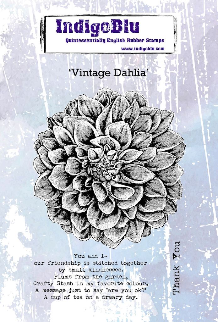 Vintage Dahlia A6 Red Rubber Stamp
