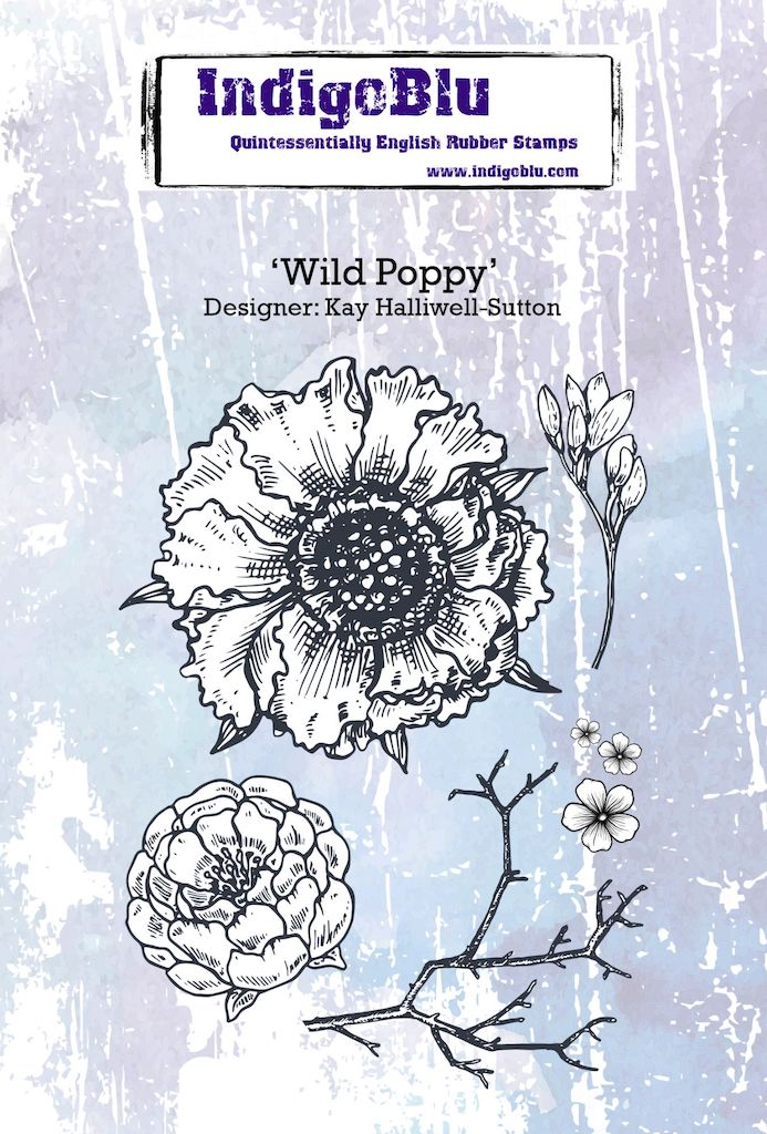 Wild Poppy A6 Red Rubber Stamp by Kay Halliwell-Sutton