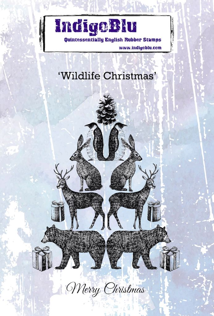 Wildlife Christmas A6 Red Rubber Stamp