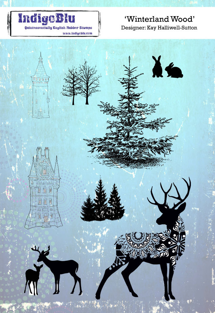 Winterland Wood A5 Red Rubber Stamp by Kay Halliwell-Sutton