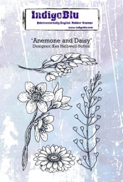 Anemone and Daisy A6 Red Rubber Stamp by Kay Halliwell-Sutton