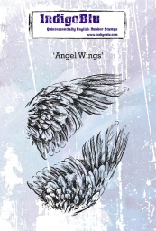 Angel Wings A6 Red Rubber Stamp by Kay Halliwell-Sutton