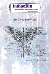 Art Gives You Wings A6 Red Rubber Stamp by Kay Halliwell-Sutton