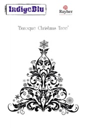 Baroque Christmas Tree A6 Red Rubber Stamp