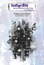 Calm and Relax A6 Red Rubber Stamp by Kay Halliwell-Sutton