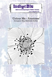 Colour Me - Anenome A6 Red Rubber Stamp by Kay Halliwell-Sutton